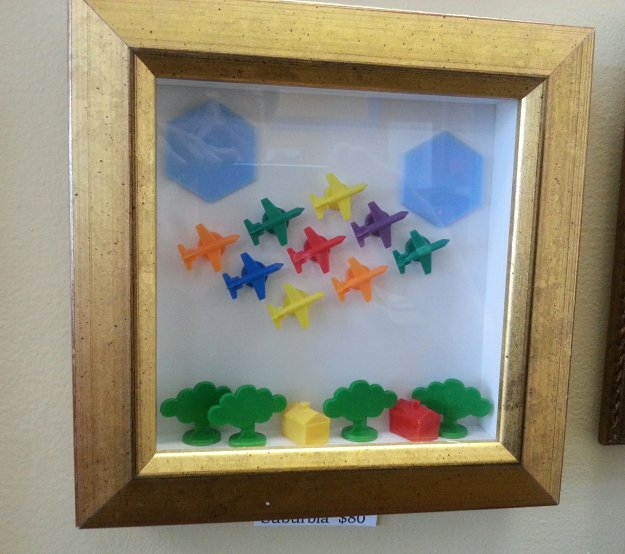Using scrap moulding to create this fun and inexpensive mini shadowbox frame was seen at Casco Bay Frames & Art in Portland, Maine