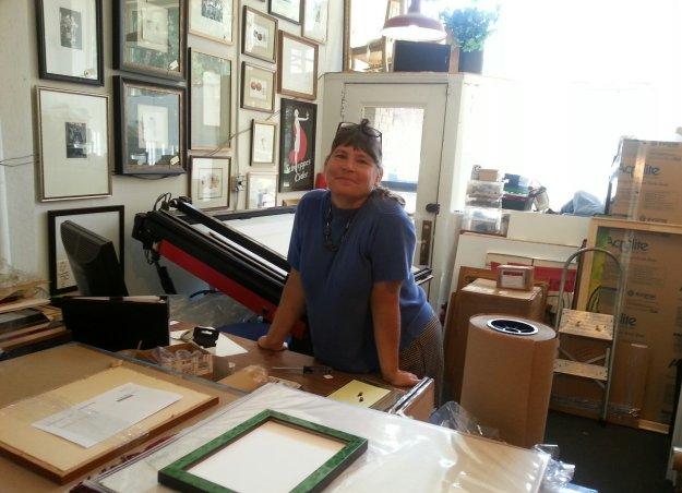 Edith Antl of Art Etc, in Cleveland, Ohio - She has framed art displayed everywhere in her shop!